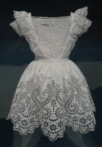 Boy's frock, white plain weave cotton with broderie anglaise, probably English, c. 1855, Courtesy of Los Angeles County Museum of Art
