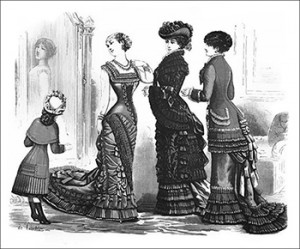 (Left to Right) Ball or Grand Dinner Toilette, Pelisse of Damask and Mantle, and Matinee, Author's Collection