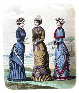 (Left to Right) Hervey Toilette, Duncombe Costume, and Freycinet Seaside or Traveling Costume, Author's Collection