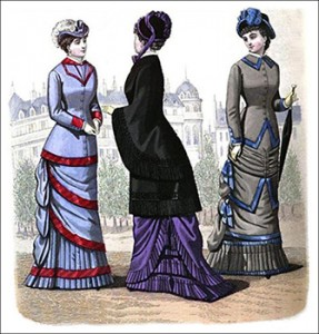 (Left to Right) Marie Promenade Costume, Clarice Visite Mantle, Bernady Promenade Costume, Author's Collection