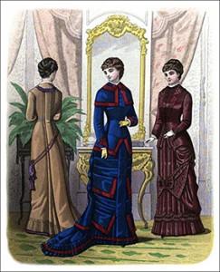(Left to Right) Montebellow Watteau Tea Gown, Bischoffsheim Promenade Toilette, and Poniatowski Promenade Costume, Author's Collection