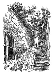 Bejamin Franklin living in Passy with the Rue in Passy shown