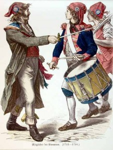Sans-Culottes Wearing the Bonnet Rouge or the Phrygian Cap with the Tri-color Cockades, Author's Collection