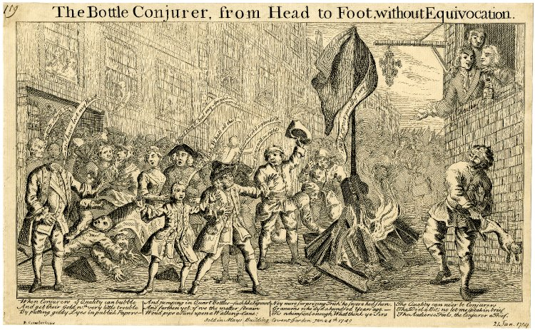 The Riot at the Theater Related to the Bottle Conjurer, Courtesy of British Museum