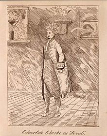 "Charlotte Charke in Men's Clothing Portraying Scrub in George Farquhar's, ""The Beaux' Stratagem"", Courtesy of Wikipedia"