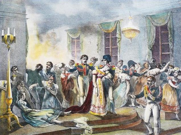 Napoleon's marriage celebration as people were escaping the fire