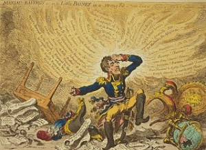 Maniac Ravings or Little Boney in a Strong Fit, by James Gillray, which ridiculed Napoleon and annoyed the French. Courtesy of Wikipedia