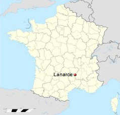 Map of Location of Lanarce in France, Courtesy of Wikipedia