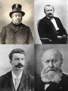 (Left to right and top to bottom) Dr. Émile Blanche, Gérard de Nerval, Henri René Albert Guy de Maupassant, and Charles Gounod, Public Domain