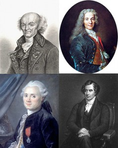 Top to Bottom and Left to Right: Joseph Jérôme Lefrançois de Lalande, Voltaire, Charles Messier, and Dominique François Jean Arago, Public Domain