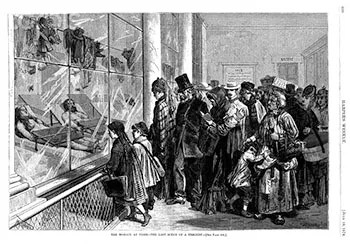 """The Morgue at Paris. The Last Scene of a Tragedy."" From Harper's Weekly, July 18, 1874, Author's Collection."