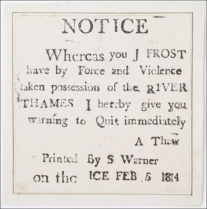 Winter of 1813-1814 - Frost Fair Notice, Courtesy of Museum of London