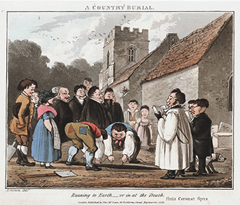 """""""A Country Burial - Running to Earth - or in at the Death,"""" c. 1826, Courtesy of Lewis Walpole Library"""