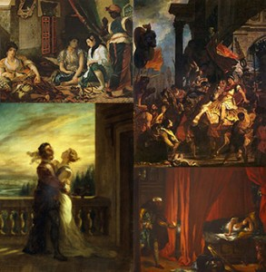 "(Left to right and top to bottom) ""Women of Algiers in their Apartment,"" ""Trajan's Justice, ""The Farewell of Romeo and Juliet,"" and ""Othello and Desdemona,"" Public Domain"