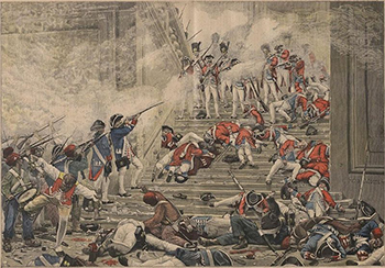 Face-off between Insurgents (Marseillais, etc.) and the Swiss Guards on the Tuileries Staircase, Courtesy of Wikipedia