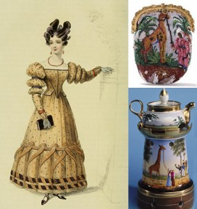 Giraffe-colored Dress and à la Giraffe Hair (left), Beaded Giraffe Purse (top right), and Teapot with Giraffe (bottom right)