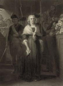 Marie Antoinette au Tribunal révolutionnaire. By Alphonse François From Painting by Paul Delaroche (1857). Courtesy of Library of Congress