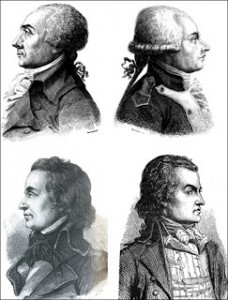 Top to Bottom and Left to Right: Jacques René Hébert, Antoine-François Momoro, Charles-Philippe Ronsin, and François-Nicolas Vincent, Courtesy of Wikipedia