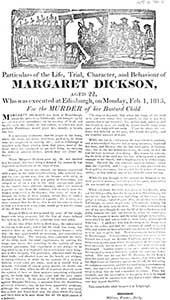 Margaret Dickson and a false report about her death.