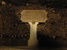 Charlotte Corday's head - plaque in Catacombs of Paris