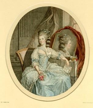 Rosalie Duthé holding a rose