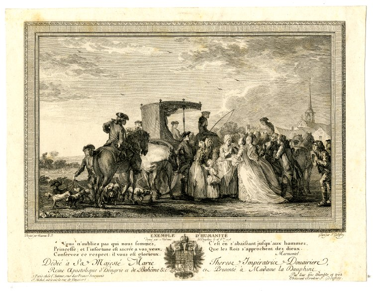 French royal hunt of 1773 drawing