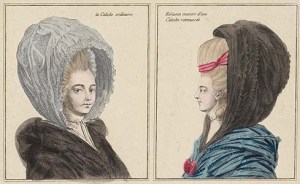 calash bonnet - La Caleche ordinaire (left) and Hèrisson couvert d'une Caleche retroussèe (right)
