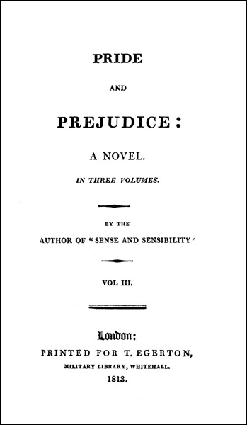Jane Austen's Pride and Prejudice - the title page