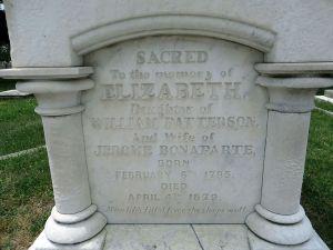 Elizabeth Patterson Bonaparte - her tombstone