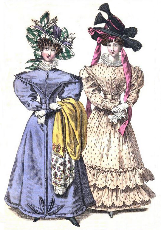 Gigot or leg of mutton sleeves in 1827 on purple walking dress.