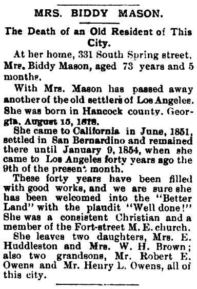 Biddy Mason obituary