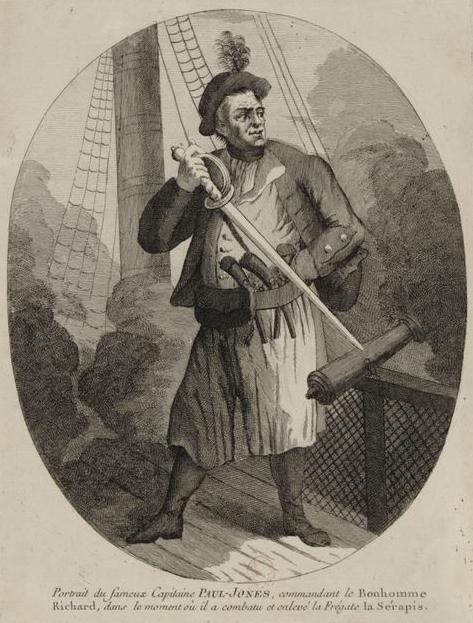 John Paul Jones in combat on the Bonhomme Richard against the Serapis.