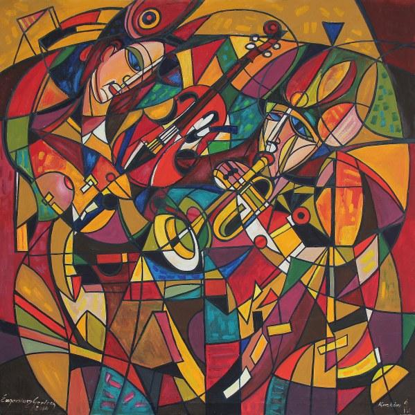 """Muzykanci"", 150 x 150 cm, 2014"