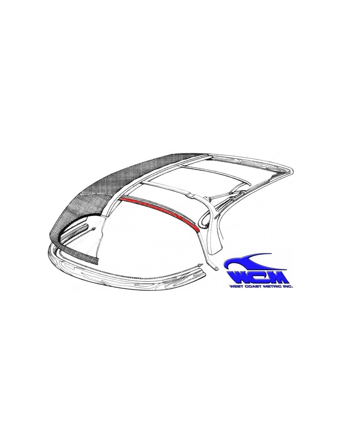Traverse Centrale Armature Capote Karmann Ghia Cabriolet 69 74