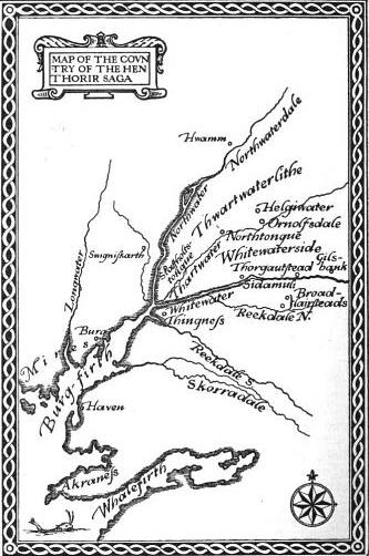 Map of the setting of Hen-Thorirs saga