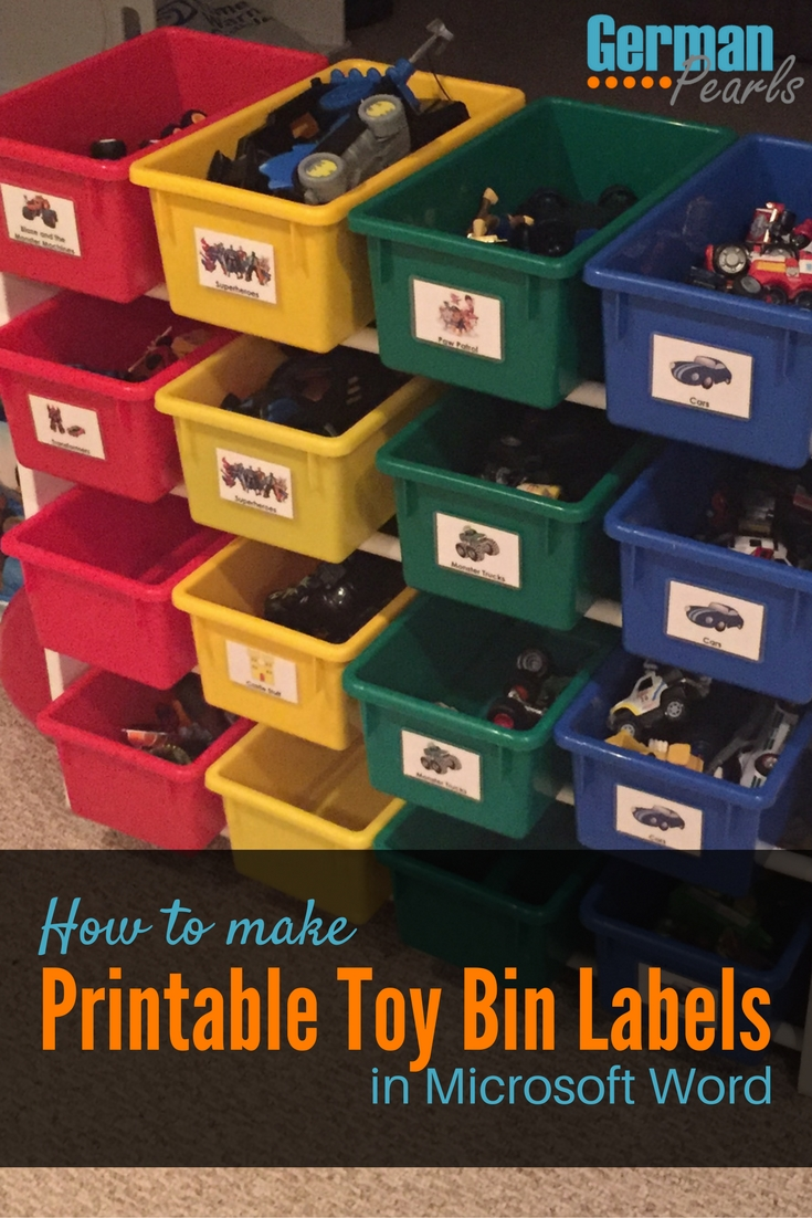 How To Make Printable Labels For Toy Storage Bins German