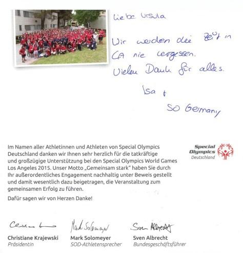Special Olympics Deutschland - Vielen Dank Ursula