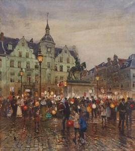 Martinszug auf dem Düsseldorfer Marktplatz, Aquarell von Heinrich Hermanns, 1905