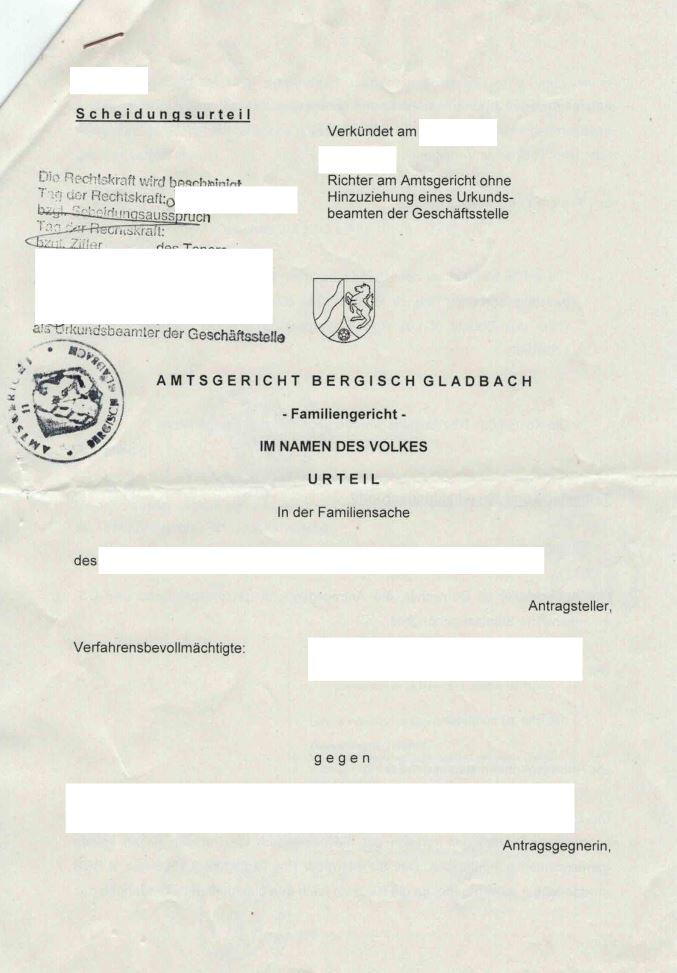 German Divorce Decree From Germany