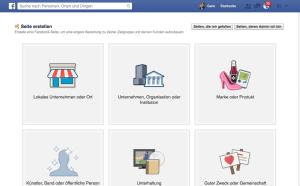 So stellt sich das Fenster dar, wenn Sie eine Facebook-Fanpage erstellen.