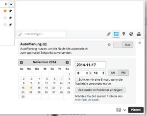 Mit der Automation-Funktion »AutoPlanung« von Hootsuite bestimmen Sie, wann und wo eine Meldung veröffentlicht wird.