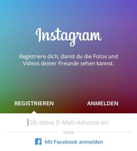 Über die Instagram-App registrieren (Screenshot - November 2015)