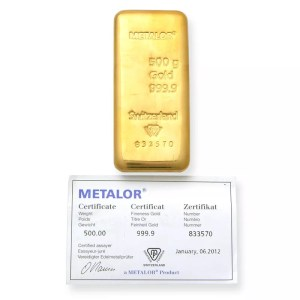 buy 500 grams gold bar metalor