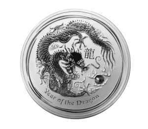 1 kilo silver coin Year of the Dragon 2012 obverse - Perth Mint