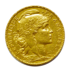20 French Francs Marianne Rooster gold coin reverse