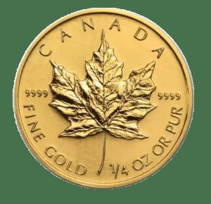 1/4 oz Gold Maple Leaf coin (obverse)