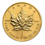 1/4 oz Gold Maple Leaf coin (obverse)