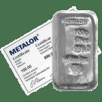100g Metalor Silver Bar with Assay Certificate