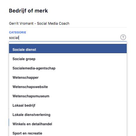 Facebook type pagina kiezen