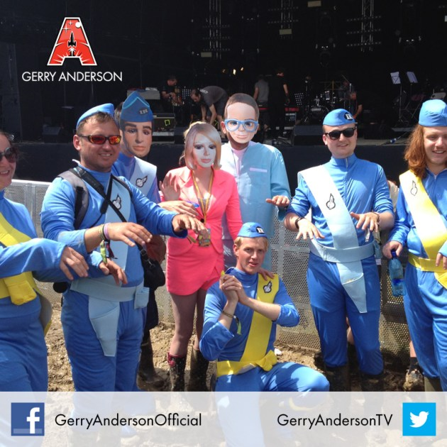 Gerry Anderson fans in Thunderbirds costumes pose after the Barry Gray set